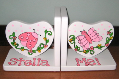 Bugs and Butterflies Heart Bookends