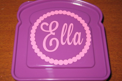 Purple Sandwich Holder with Script Name in Circle
