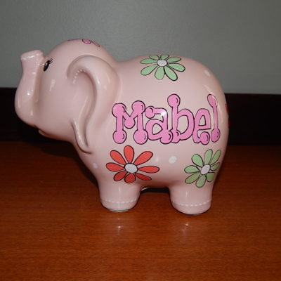 Flowered Elephant Bank