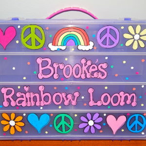 Rainbow and Peace Sign Rainbow Loom Box