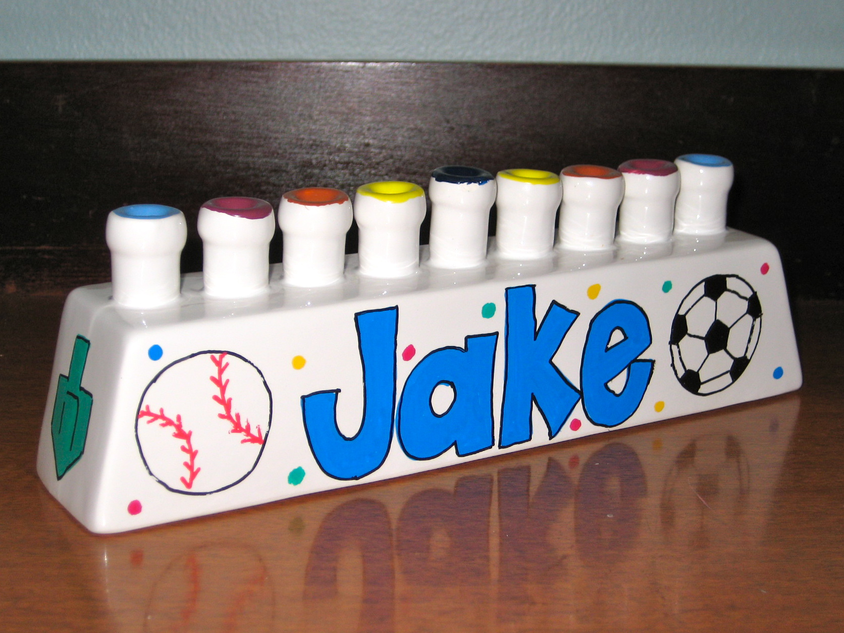 Sports, Baseball, Soccer Ceramic Menorah