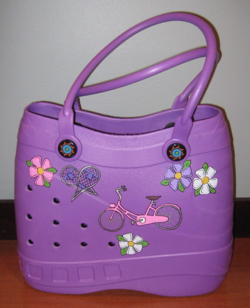 Purple Tote with Bicycle