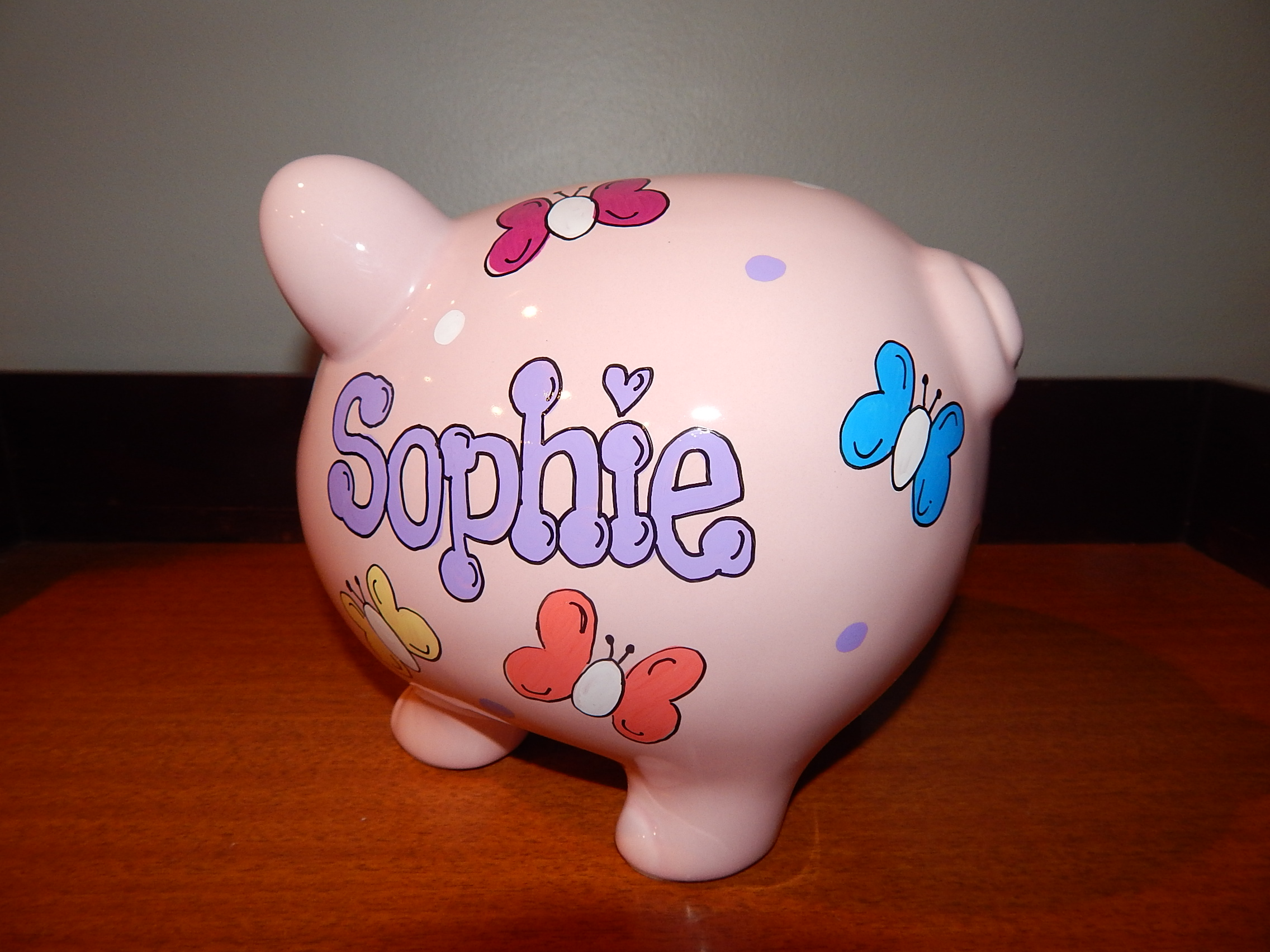 Butterfly Pink Piggy Bank