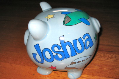Blue Piggy Bank with Airplanes