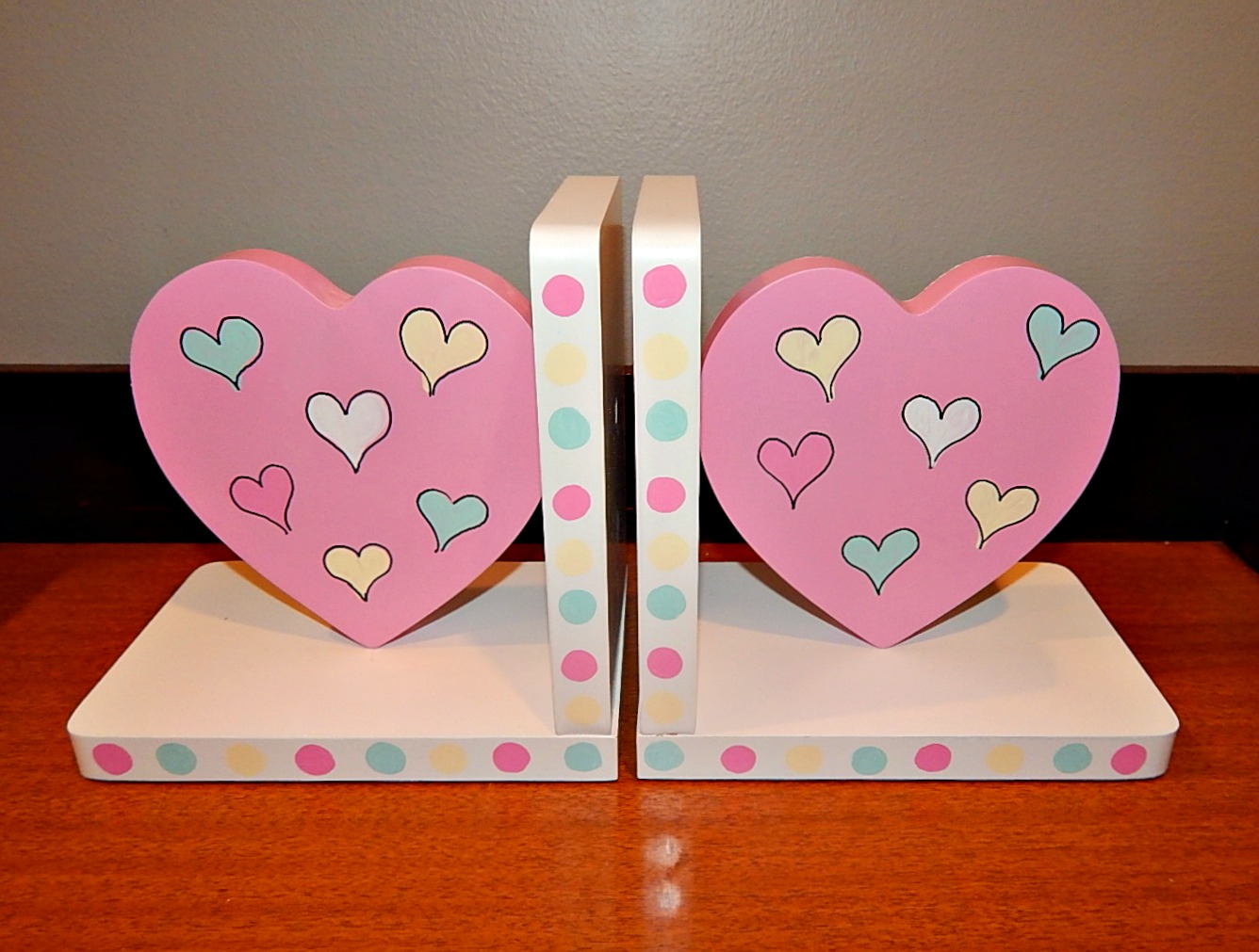 Pink Heart Shaped Bookends - Artworks By Amy
