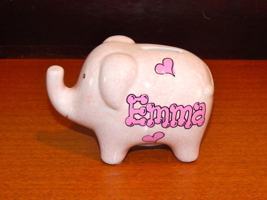 Mini Pink Elephant with Hearts