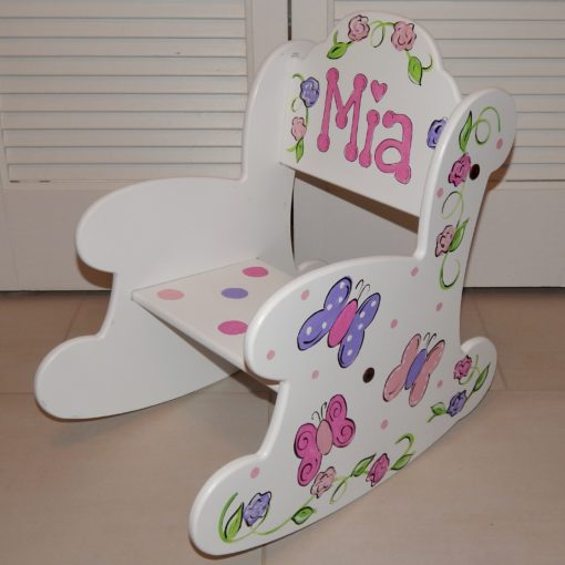 Puzzle Rocker with Pink and Purple Butterflies