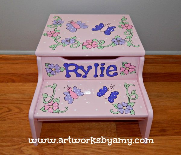 Pink Step Stool with Flowers and Butterflies