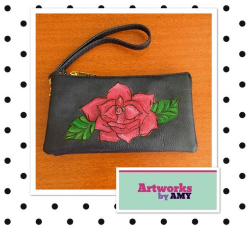 Navy Wristlet with red rose