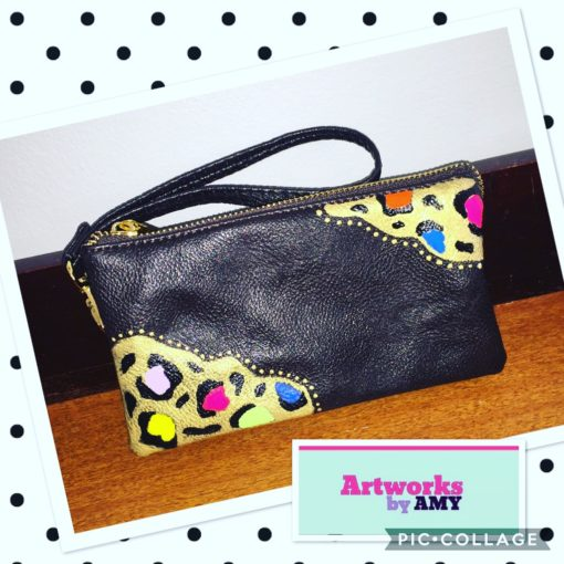 Coffee Brown Wristlet with Bright Leopard Design