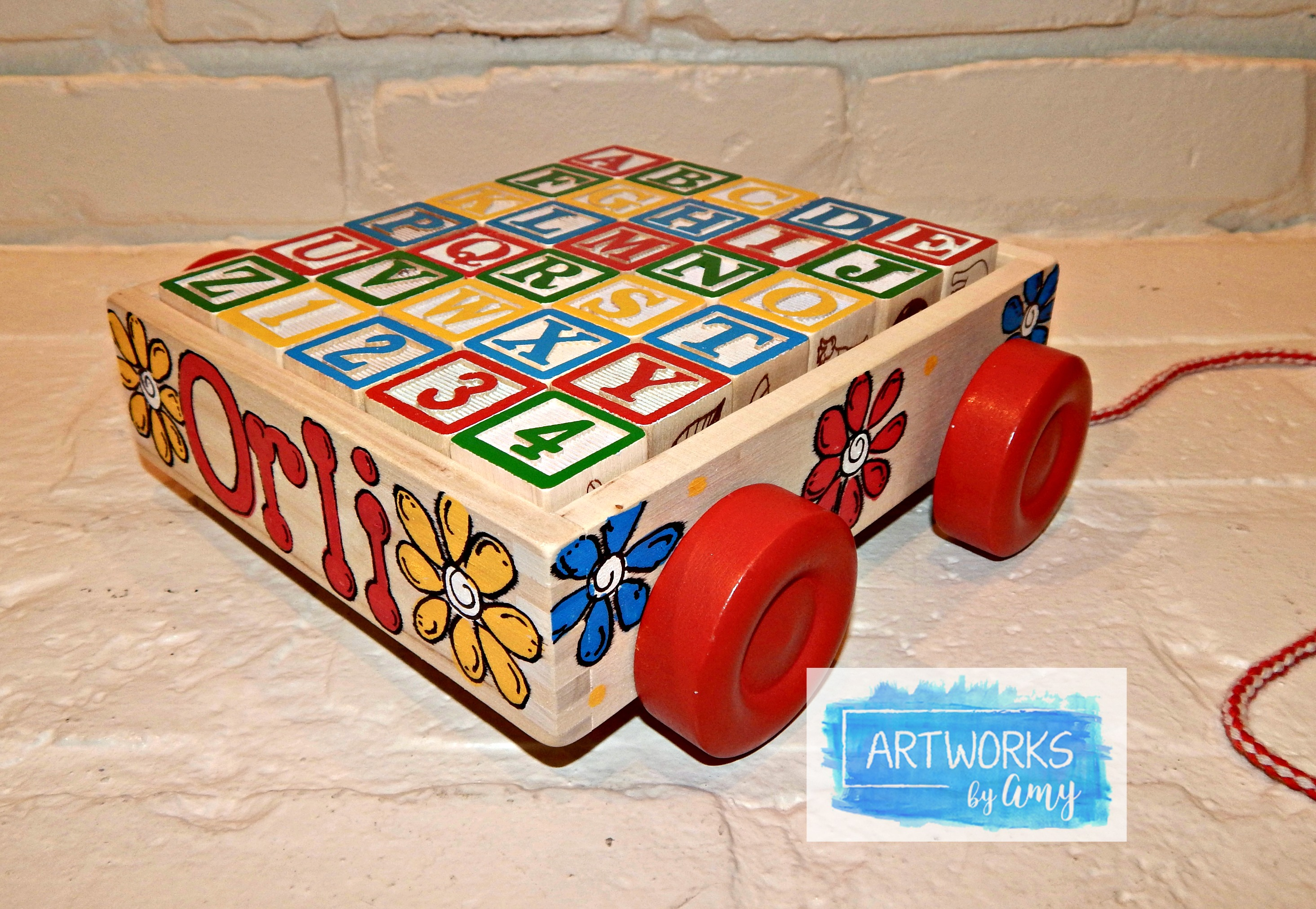 Personalized Classic Abc Wooden Block Cart